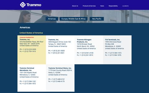 Screenshot of Locations Page trammo.com - Trammo | Locations - captured May 30, 2019