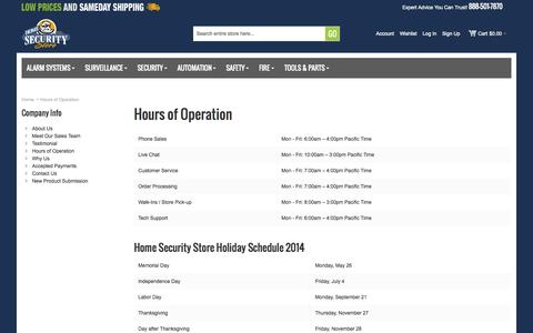 Screenshot of Hours Page homesecuritystore.com - Hours of Operation - captured Sept. 19, 2014