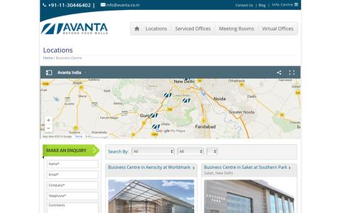 Screenshot of Locations Page avanta.co.in - Business Centres on Rent in India - Avanta - captured Feb. 6, 2016