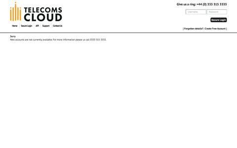 Screenshot of Signup Page telecomscloud.com - Telecoms Cloud - - captured July 23, 2018
