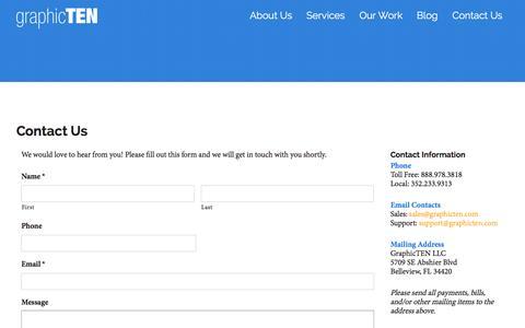 Screenshot of Contact Page graphicten.com - Ocala Web Design Contact   GraphicTEN - captured July 17, 2016