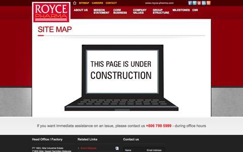 Screenshot of Site Map Page royce-pharma.com - Royce-Pharma - captured Oct. 1, 2014