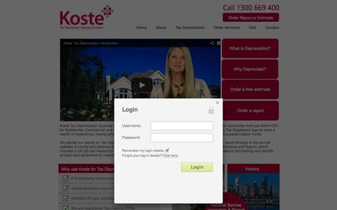 Screenshot of Home Page Login Page koste.com.au - Tax Depreciation | Inspected Site Surveys |  Quantity Surveyor| - captured Oct. 6, 2014