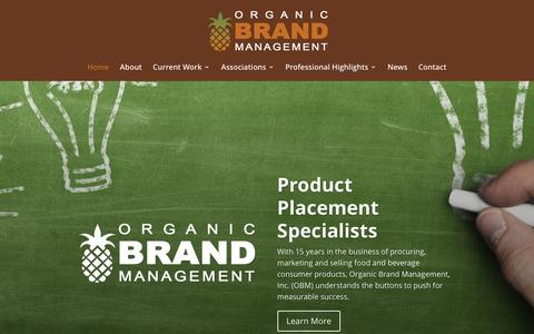 Screenshot of Home Page organicbrandmanagement.com - Organic Brand Management | Product Placement Specialists - captured Dec. 6, 2016