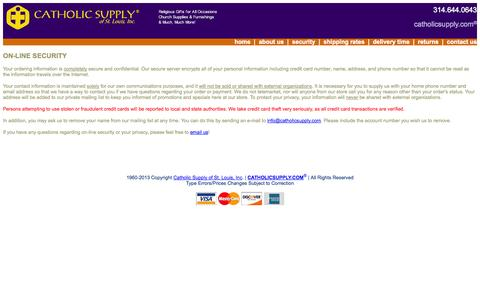 Screenshot of Privacy Page catholicsupply.com - On-Line Security - captured Sept. 19, 2014