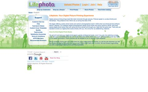 Screenshot of Support Page lifephoto.com - Support | Lifephoto - captured May 19, 2017