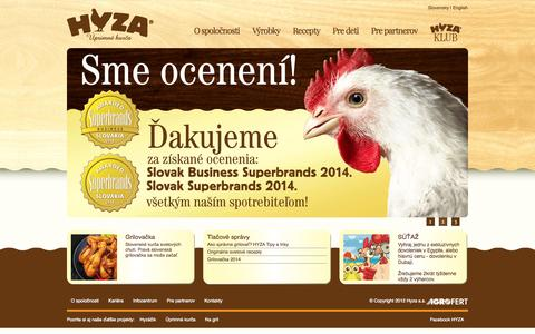 Screenshot of Home Page hyza.sk - Hyza.sk - captured Oct. 1, 2014