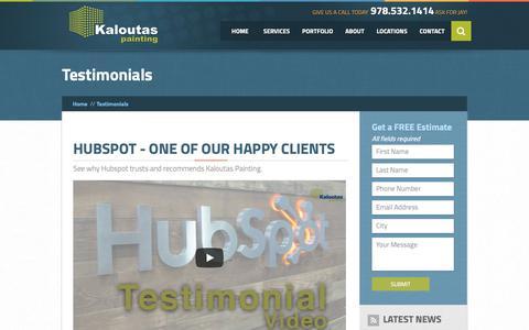Screenshot of Testimonials Page kaloutas.com - Testimonials | Kaloutas Painting - captured Sept. 28, 2018