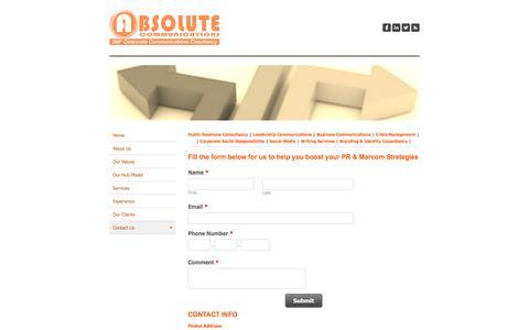 Screenshot of Contact Page absolutecommunications.ae - Contact us - Absolute Communications - captured Feb. 5, 2016