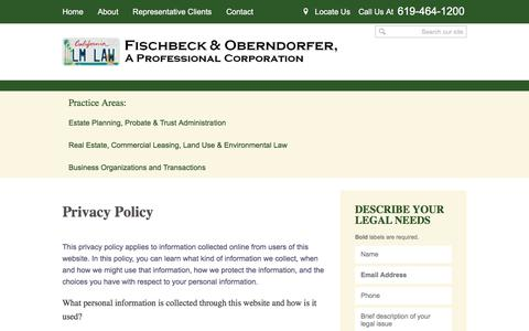 Screenshot of Privacy Page lamesalaw.com - Privacy Policy | Fischbeck & Oberndorfer | La Mesa, California - captured Oct. 13, 2017