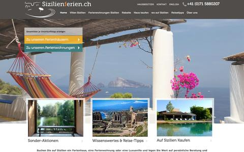 Screenshot of Home Page sizilienferien.ch - Sizilien Ferienhaus am Meer mit Pool | Luxusvilla - captured Feb. 4, 2016