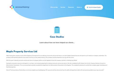 Screenshot of Case Studies Page theaccountancy.co.uk - Case Studies   - - captured June 24, 2019