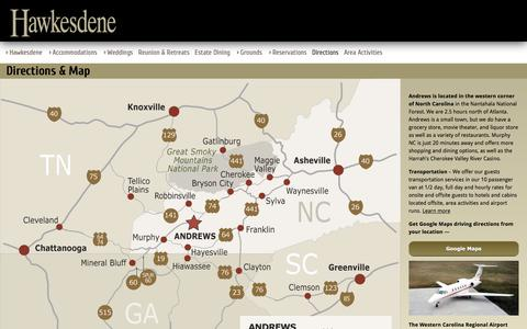 Screenshot of Maps & Directions Page hawkesdene.com - Map and Driving Directions To Andrews NC - Andrews-Murphy Airport (KRHP) - North Carolina - captured Nov. 1, 2016