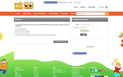 Screenshot of Login Page onlykidz.in - Login - captured Aug. 18, 2016