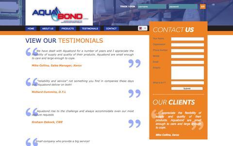 Screenshot of Testimonials Page aquabond.co.uk - Aquabond - Testimonials - captured Sept. 30, 2014