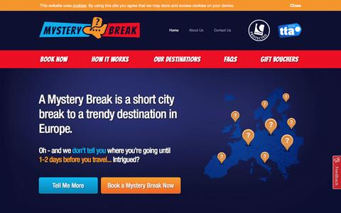 Screenshot of Home Page mysterybreak.co.uk - Mystery Break | Short City Breaks to Europe - captured Jan. 11, 2016