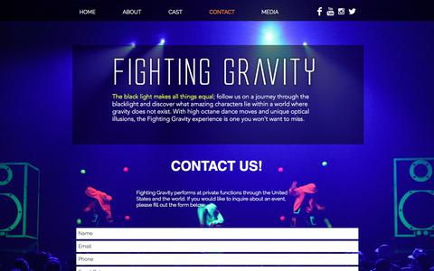 Screenshot of Contact Page fightingravity.com - Fighting Gravity Contact - captured Feb. 22, 2018