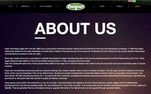 Screenshot of About Page hopetech.com - About Us | Hope Tech | Made in Barnoldswick, England - captured Sept. 25, 2014