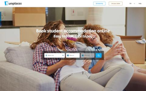 Screenshot of Home Page uniplaces.com - Student accommodation - Uniplaces - captured June 16, 2015
