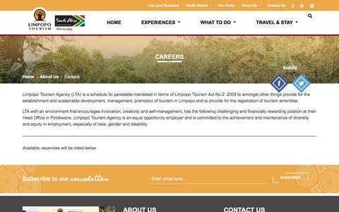 Screenshot of Jobs Page golimpopo.com - Careers | Limpopo Tourism - captured Sept. 13, 2018