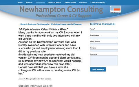 Screenshot of Testimonials Page newhampton.co.uk - Newhampton UK CV Experts - Professional CV Writers - Testimonials - captured Nov. 9, 2018