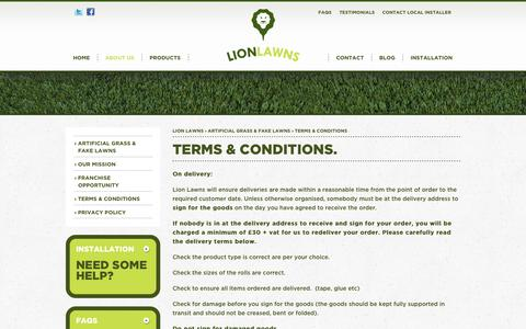 Screenshot of Terms Page lionlawns.co.uk - Lion Lawns Terms & Conditions - captured Oct. 1, 2014