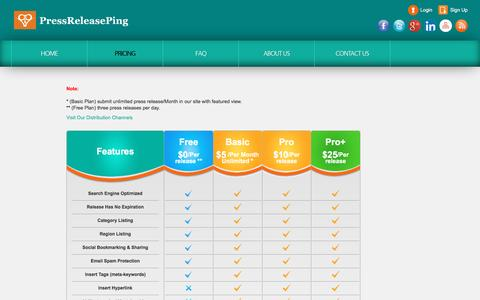 Screenshot of Pricing Page pressreleaseping.com - PressReleasePing   Pricing - captured Aug. 21, 2016