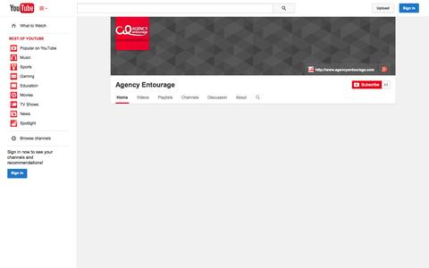 Screenshot of YouTube Page youtube.com - Agency Entourage  - YouTube - captured Oct. 22, 2014