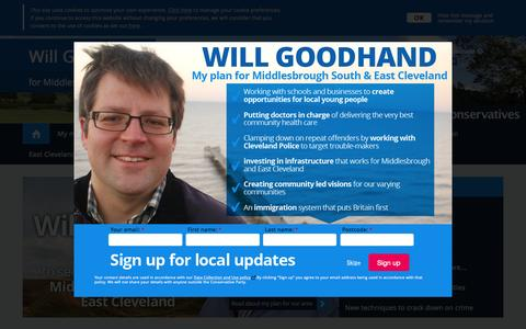 Screenshot of Home Page willgoodhand.org.uk - Will Goodhand | for Middlesbrough South and East Cleveland - captured June 20, 2015