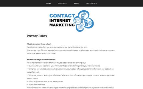 Screenshot of Privacy Page contactinternetmarketing.com - Privacy Policy | Contact Internet Marketing — Internet Marketing Services Company | Contact Internet Marketing - captured Sept. 30, 2014