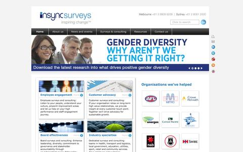Screenshot of Home Page insyncsurveys.com.au - Employee survey, staff survey, customer survey, exit interview, 360 feedback, employee engagement - captured Oct. 6, 2014