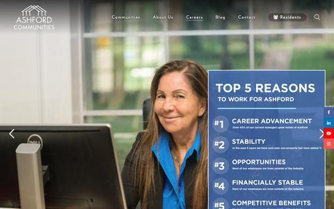 Screenshot of Jobs Page ashfordco.com - Careers - Ashford Communities - captured Nov. 13, 2018