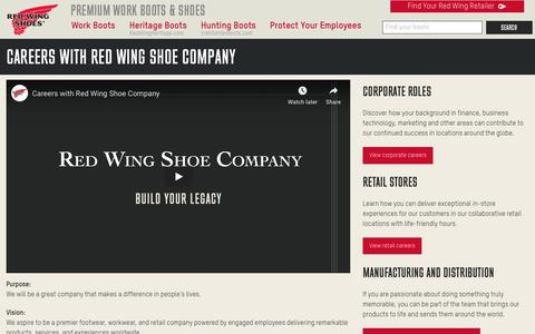 Screenshot of Jobs Page redwingshoes.com - Careers at Red Wing Shoes - captured July 18, 2019