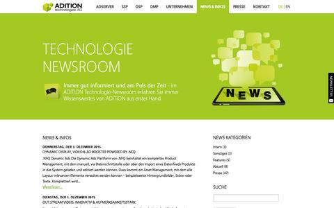 Screenshot of Press Page adition.com - News & Infos   ADITION technologies AG - captured Jan. 14, 2016