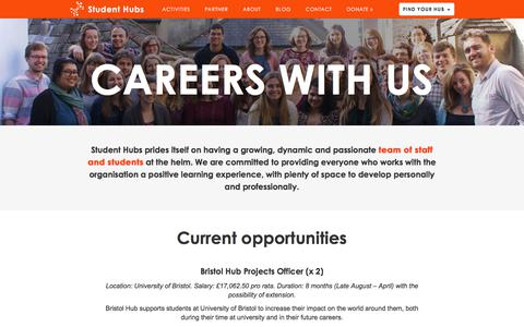 Screenshot of Jobs Page studenthubs.org - Careers With Us |  Student Hubs - captured June 13, 2018