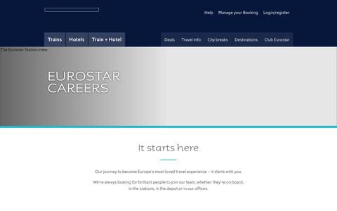 Screenshot of Jobs Page eurostar.com - Eurostar Careers | Eurostar - captured May 7, 2018