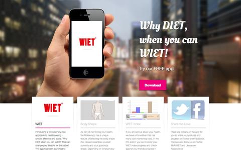 Screenshot of Home Page wiet.mobi - WIET – What I'm Eating Today - captured Oct. 7, 2014