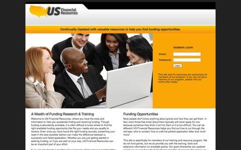 Screenshot of Home Page usfinancialresources.com - US Financial Resources Member Area - captured Sept. 30, 2014