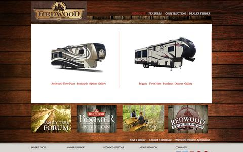 Screenshot of Products Page redwood-rv.com - Products - Redwood RV :: Full-Time Residential Fifth Wheels - captured Jan. 10, 2016