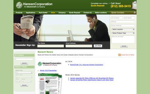 Screenshot of Press Page hansen-motor.com - Hansen Corporation News - captured Oct. 1, 2014