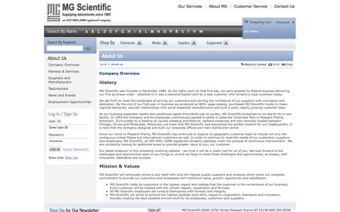 Screenshot of About Page mgscientific.com - About Us - MG Scientific - captured Sept. 30, 2014