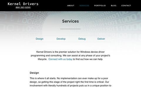 Screenshot of Services Page kerneldrivers.com - Services • Kernel Drivers - captured Nov. 3, 2014