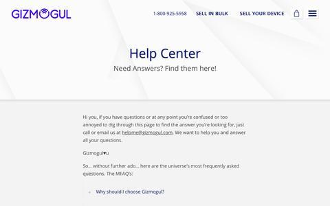 Screenshot of FAQ Page gizmogul.com - Help Center - Gizmogul.com - captured Dec. 18, 2017
