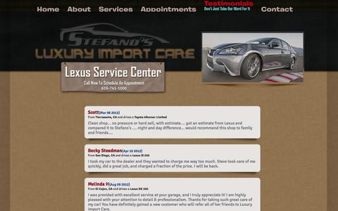Screenshot of Testimonials Page luxuryimportcare.com - Testimonials | Luxury Import Care: Lexus-Toyota-Scion Auto Service & Repair - captured Sept. 30, 2014