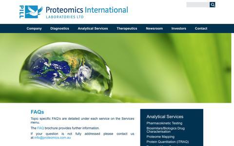 Screenshot of FAQ Page proteomics.com.au - FAQs - Proteomics International - captured Sept. 30, 2018