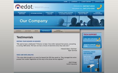 Screenshot of Testimonials Page edotsolutions.com - eDot - captured Oct. 3, 2014