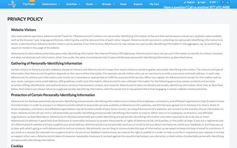Screenshot of Privacy Page adventurelink.com - Privacy Policy - captured Sept. 13, 2014
