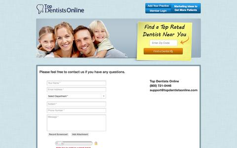 Screenshot of Contact Page topdentistsonline.com - Contact Us - captured Sept. 23, 2014