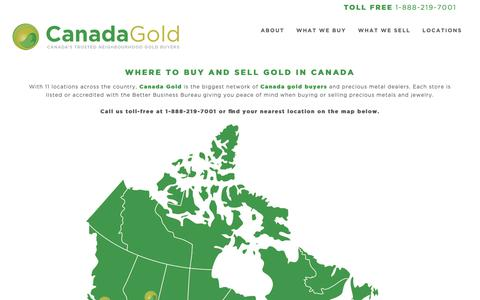 Screenshot of Contact Page Locations Page canadagold.ca - Contact Canada Gold | The Best Place to Buy Gold in Canada - captured Oct. 25, 2018