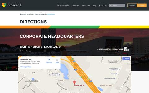 Screenshot of Maps & Directions Page broadsoft.com - Directions - BroadSoft - captured July 3, 2016